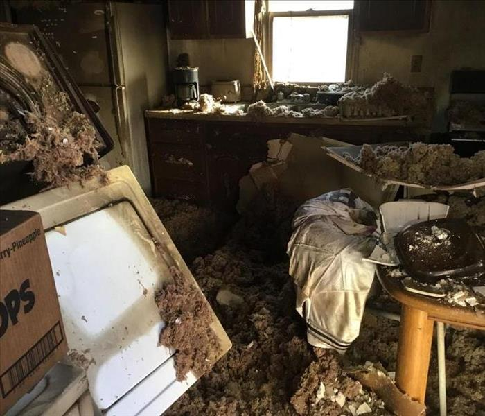 Fire Damage in Kitchen before SERVPRO of Pueblo clean up